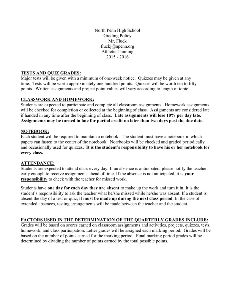 Grading Policy - North Penn School District