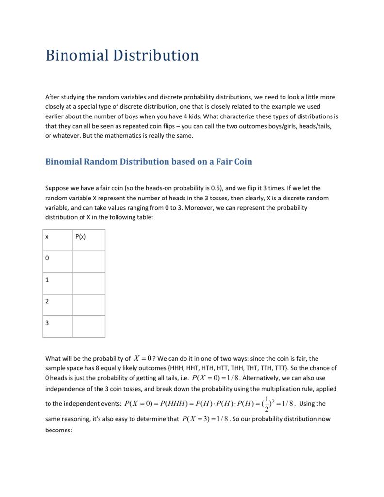 Assumptions Of Binomial Distribution