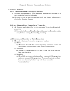 Chapter 3 – Elements, Compounds, and Mixtures
