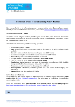 Submit an article to the eLearning Papers Journal