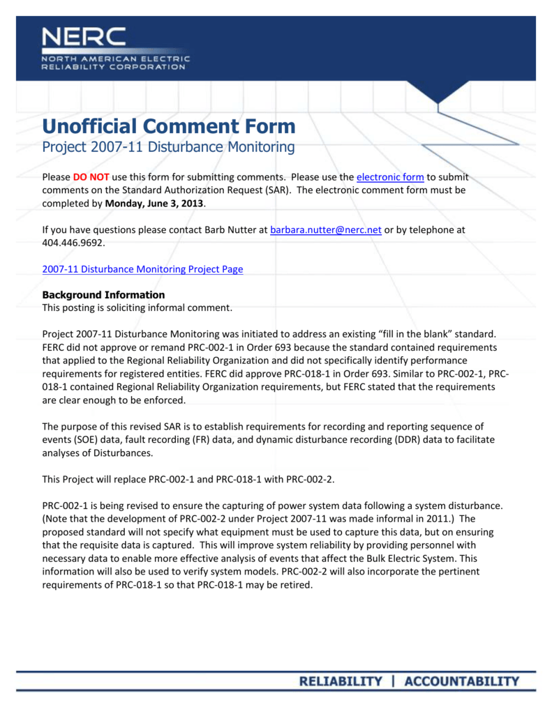 NERC Unofficial Comment Form (SAR)