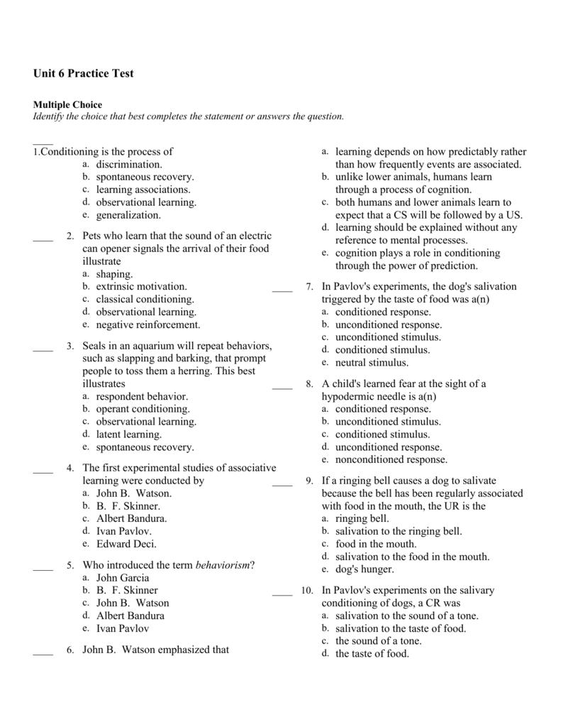 Classical and Operant Conditioning Worksheet / Quiz | TeacherLingo.com