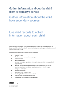 Gather information about the child from secondary sources