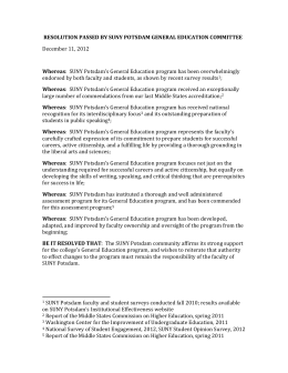 RESOLUTION PASSED BY SUNY POTSDAM GENERAL