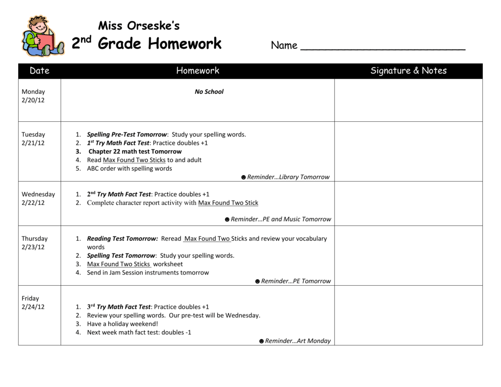 Miss Orseske`s 2 nd Grade Homework