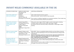 INFANT MILKS COMMONLY AVAILABLE IN THE UK