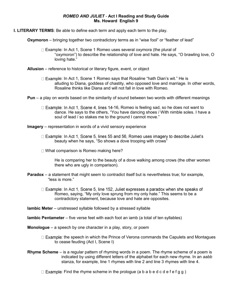 Romeo And Juliet Act I Reading And Study Guide Ms Howard