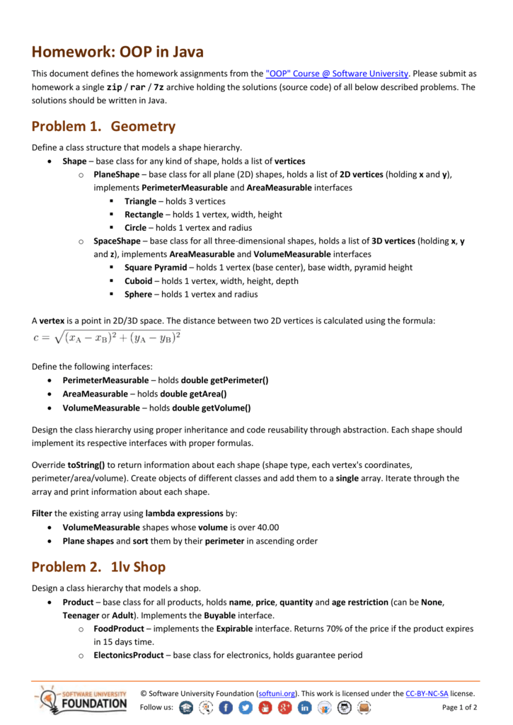 Java, OOP - Homework