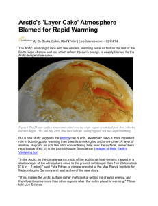 Arctic`s `Layer Cake` Atmosphere Blamed for Rapid Warming