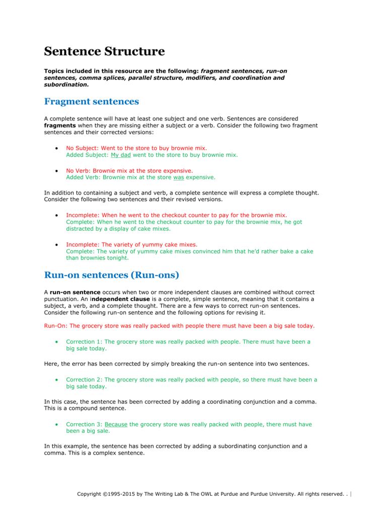 Printable Worksheets fragments and run-on sentences worksheets : Correcting Run On Sentences Worksheets - Checks Worksheet