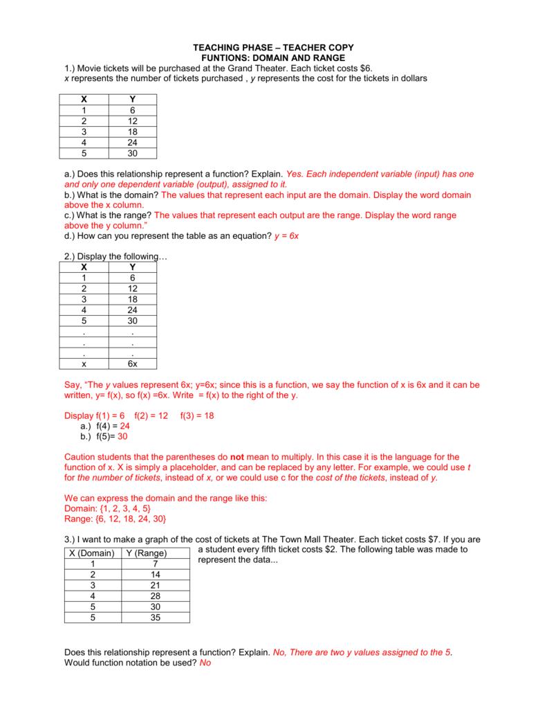 Teaching Phase: Teacher Worksheet