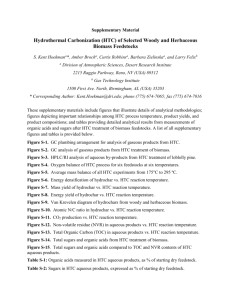 (HTC) of Selected Woody and Herbaceous Biomass Feedstocks