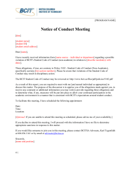 Student Conduct Meeting Notice