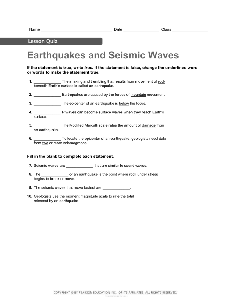 Worksheets Earthquakes And Seismic Waves Worksheet lesson 2 earthquakes and seismic waves quiz