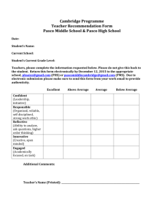 Cambridge Programme Teacher Recommendation Form Pasco