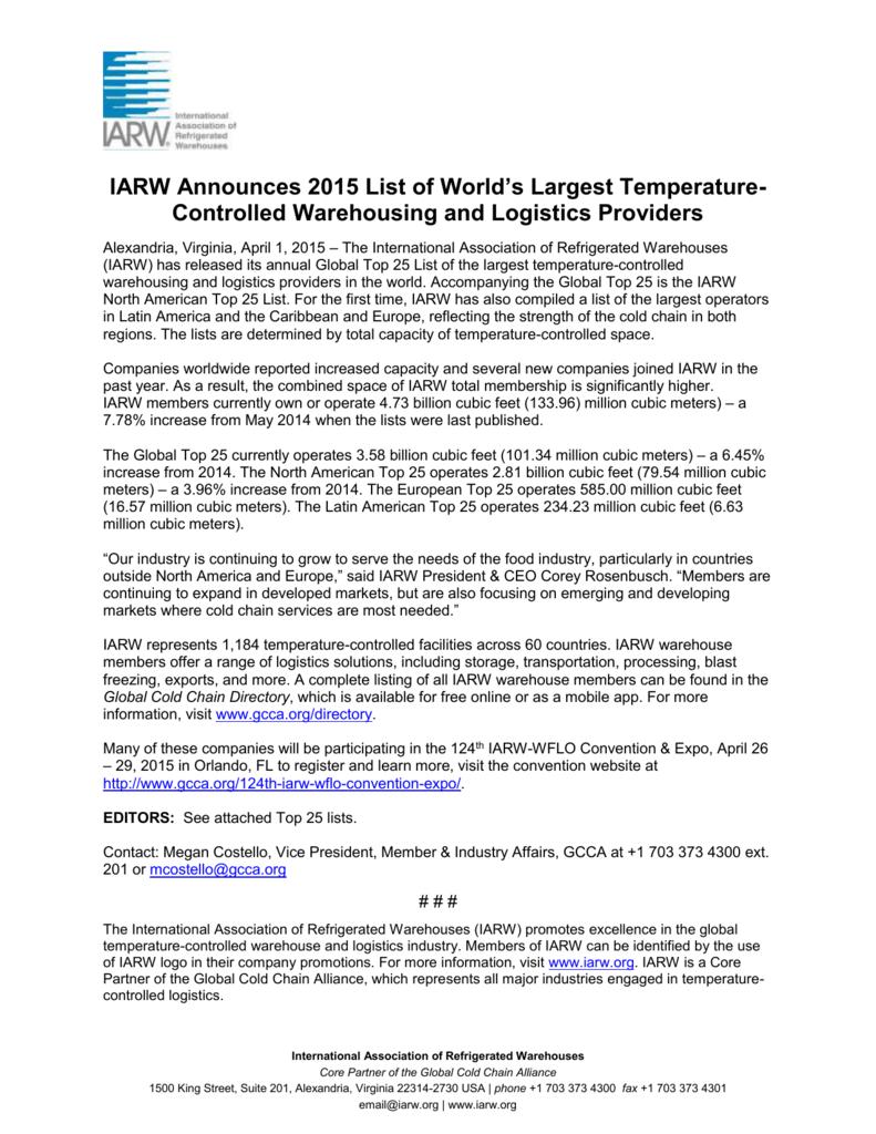 the 2015 IARW Top 25 List