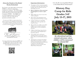 History Day Camp - Daniel Boone Homestead