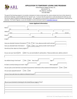 Foster Parent Application Form - Neveah`s Charity of West Lincoln