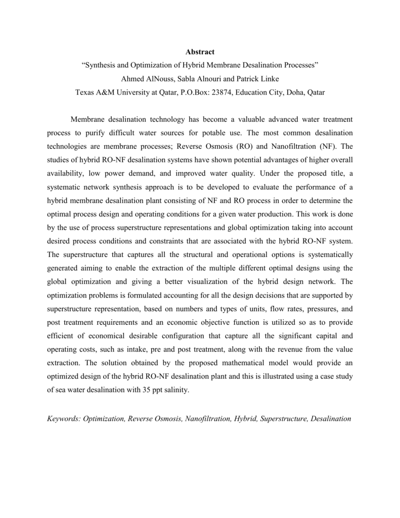 """Abstract """"Synthesis and Optimization of Hybrid Membrane"""