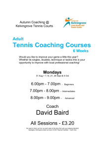 Adult Tennis Coaching Courses 6 Weeks