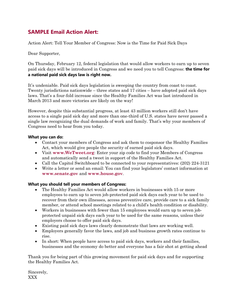 Legislative Action Alert Act To Provide >> Sample Email Action Alert National Partnership For Women