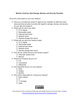Data Storage, Backup, and Security Checklist