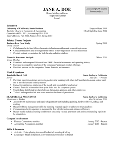 Accounting Resume – Course Projects