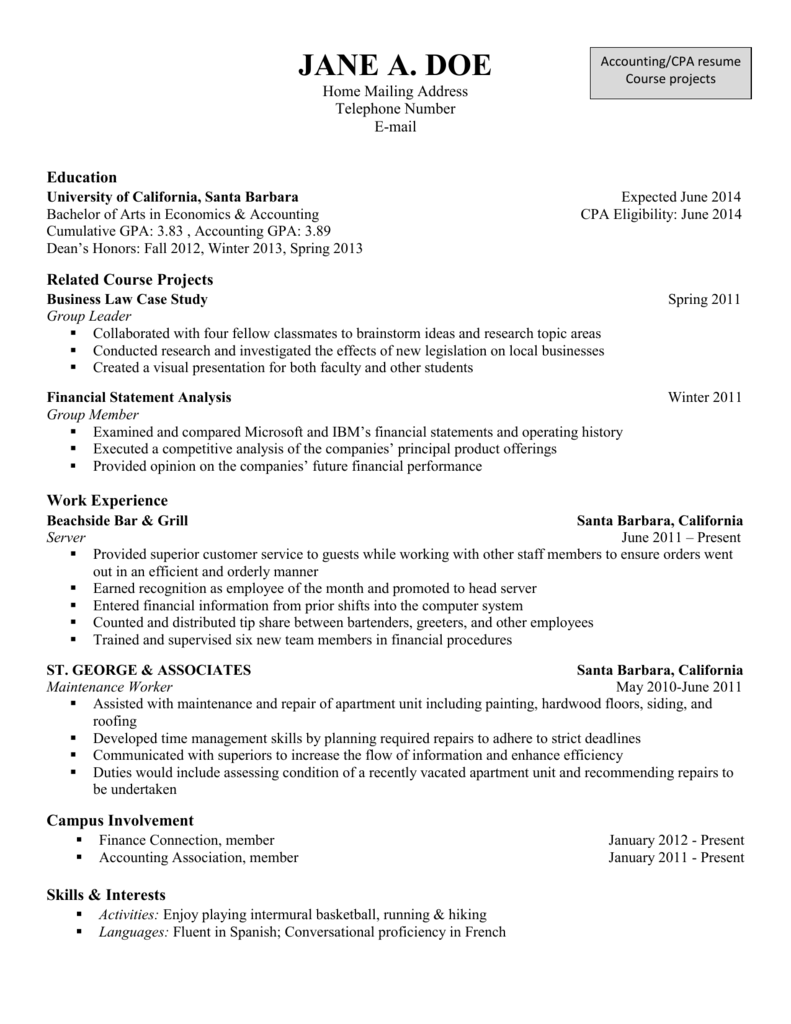 Accounting Resume Course Projects