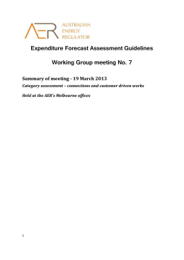 Expenditure forecast assessment guideline