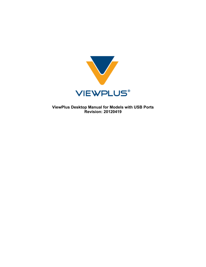 ViewPlus Desktop Manual for Models with USB Ports