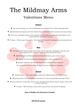 The Mildmay Arms Valentines Menu Starters Pan seared Scallops