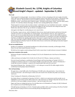Grand Knights Report – Sept 9, 2014