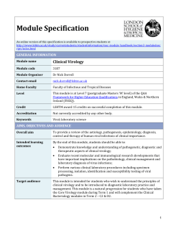 3187 Clinical Virology Module Specification