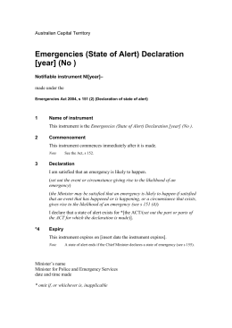 Emergencies (State of Alert) Declaration