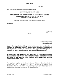 Application for Termination of Bargaining Rights under Section 63 or