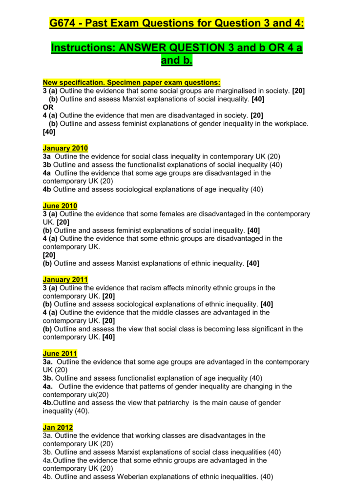 G674 - Past Exam Questions for Question 3 and 4
