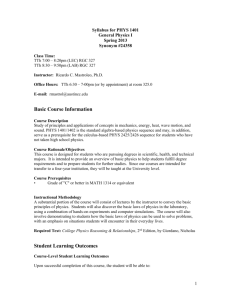 Syllabus for PHYS 1401 - Austin Community College