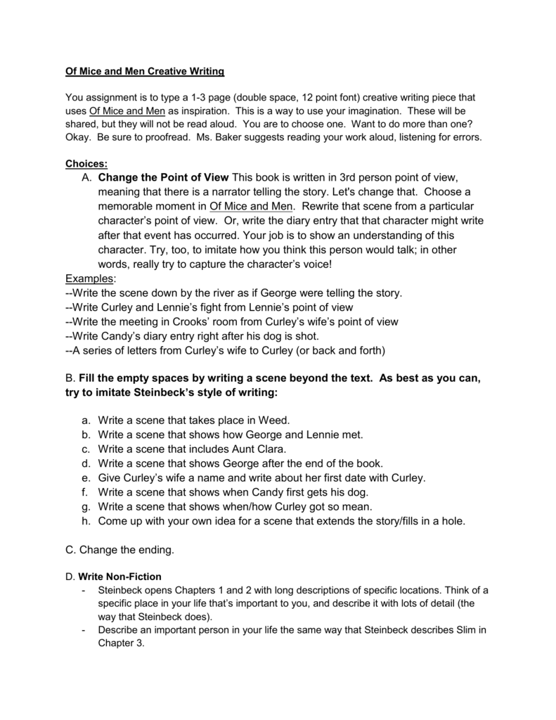 worksheet Of Mice And Men Worksheets of mice and men creative writing you assignment is to type a 1