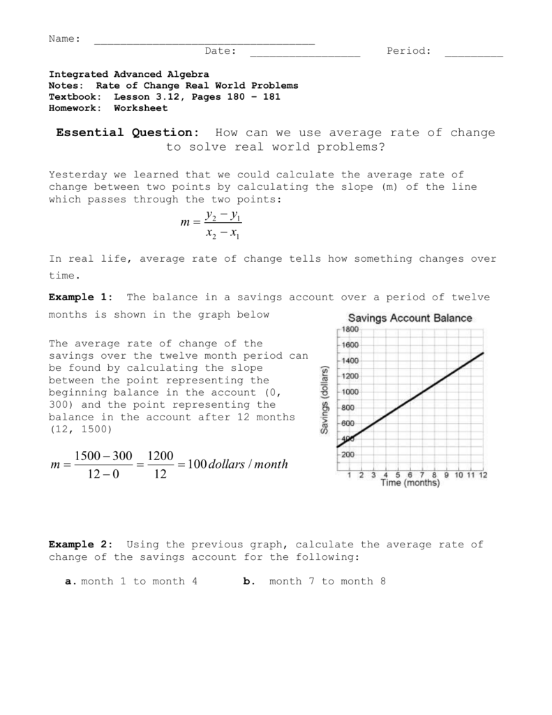 Average Rate Of Change Worksheet   Q O U N as well Identifying Rate of Change Students are asked to calculate and together with Average Rate Of Change Worksheet ly Constant Rate Of Change moreover Average rate of change review  article    Khan Academy likewise  also Using Average Rate of Change to Solve Real World Problems in addition Kuta Average Rates of Change  01   YouTube additionally LTF   Alge 1  Module 3  Calculating Average Rates of Change additionally Rate of Change Worksheet – 51 Rate of Change and Slope Worksheet furthermore Average Rate Of Change Worksheet Pdf   Proga   Info besides Average and Instantaneous Rates of Change   Study besides Average Rate Of Change Word Problems Worksheet   SHOPATCLOTH also Math worksheets land unit rates   Download them and try to solve as well Graphing Inequalities Word Problems Worksheet Inequality Worksheets additionally Average rate of change  practice    Khan Academy together with Average Rate Of Change Worksheet   Homedressage. on average rate of change worksheet