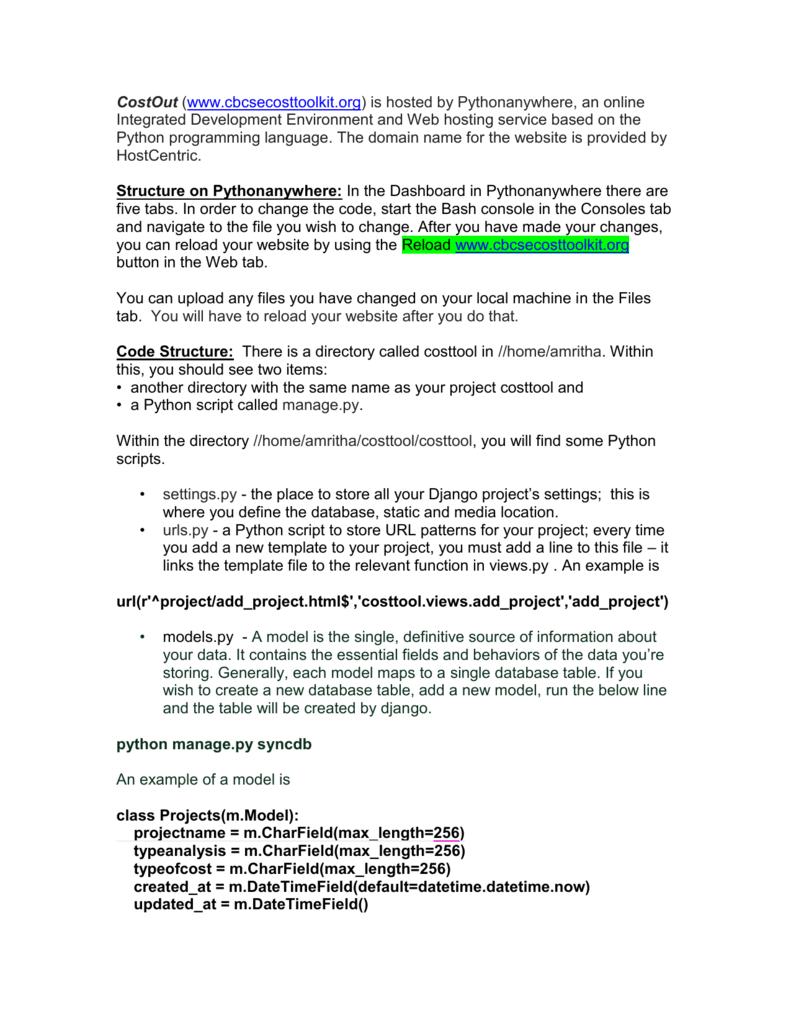 Developer Instructions - CostOut