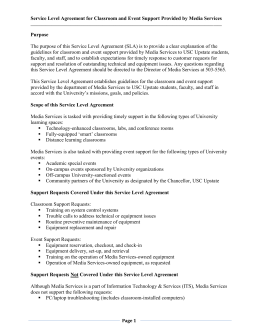 Service Level Agreement for Classroom & Event Support