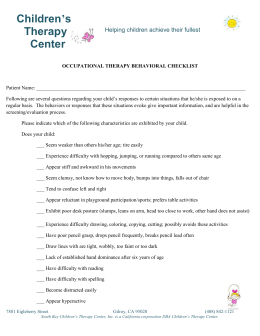 Behavior Check List - Children`s Therapy Center