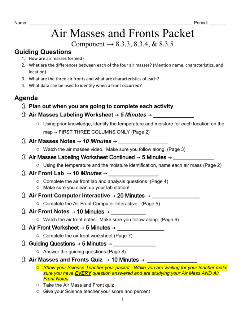 Worksheets Air Masses Worksheet air mass and fronts packet