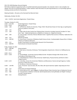2011 CSC-ACSM Meeting: General Schedule We finally completed