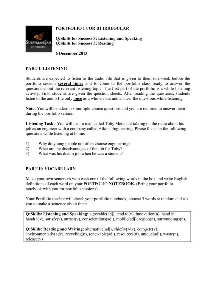 PORTFOLIO 1 FOR B1 IRREGULAR Q:Skills for Success 3