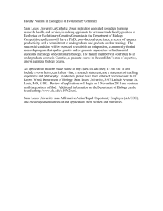 Faculty Position in Ecological or Evolutionary Genomics Saint Louis