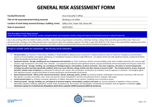Risk Assessment Form - Completed Example