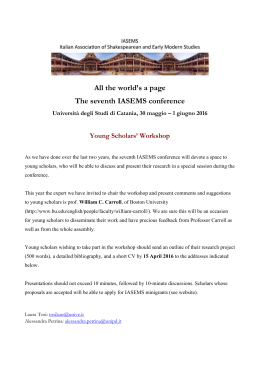 1 giugno 2016 Young Scholars` Workshop