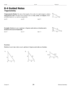 PreCalculus Ch  4 Review Worksheet with Keys