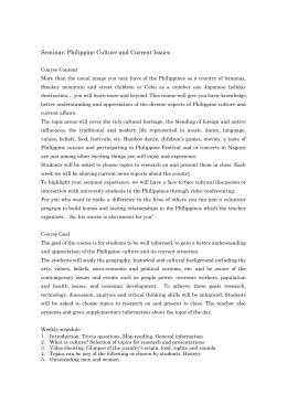 Seminar: Philippine Culture and Current Issues